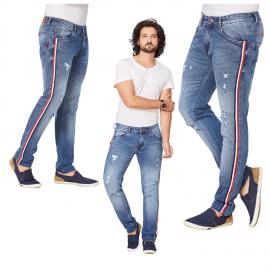 Denim Vistara Men Tape Detail Ripped Torn Jeans
