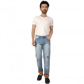 Denim Vistara Men's Ice Blue Damage Jeans
