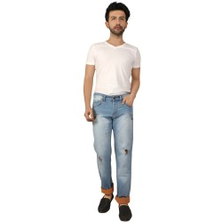 Denim Vistara Men's Ice Blue Damage Jeans
