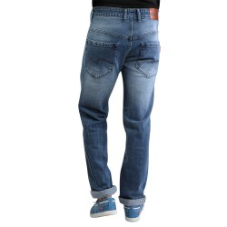 Denim Vistara Men's Dark Blue Torn Ripped Slim Fit Jeans