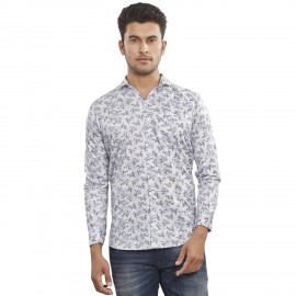 Royal Spider Men's Casual Printed White Shirt