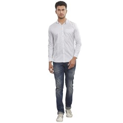 Royal Spider Men's Casual White Solid Shirt