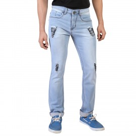 Denim Vistara Men's Blue  Comfort Fit Damage Jeans