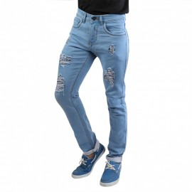Denim Vistara Men Sky Blue Damage Jeans