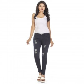 Denim Vistara Women Damage Slim Fit Black Jeans