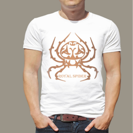 Royal Spider Men White Solid Round Neck T Shirt