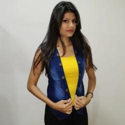 Denim Vistara Sleeveless denim jacket For Women