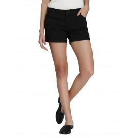Denim Vistara Black Denim Shorts for Women DV-S005