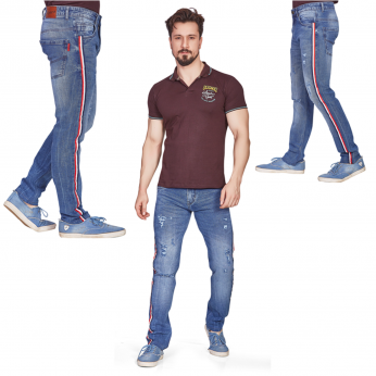 Denim Vistara Men Tape Detail Ripped Torn Jeans